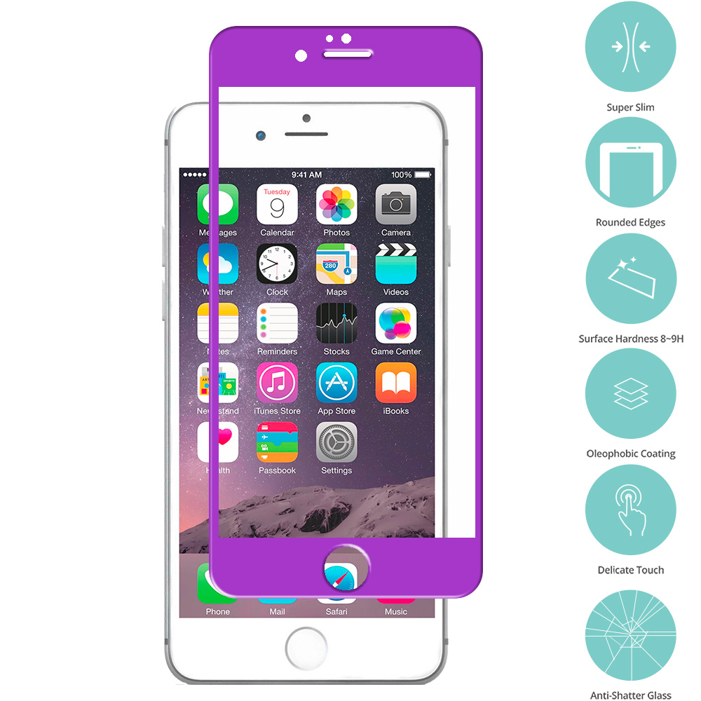Apple iPhone 6 6S (4.7) 5 in 1 Combo Bundle Pack - Tempered Glass Film Screen Protector Colored : Color Purple