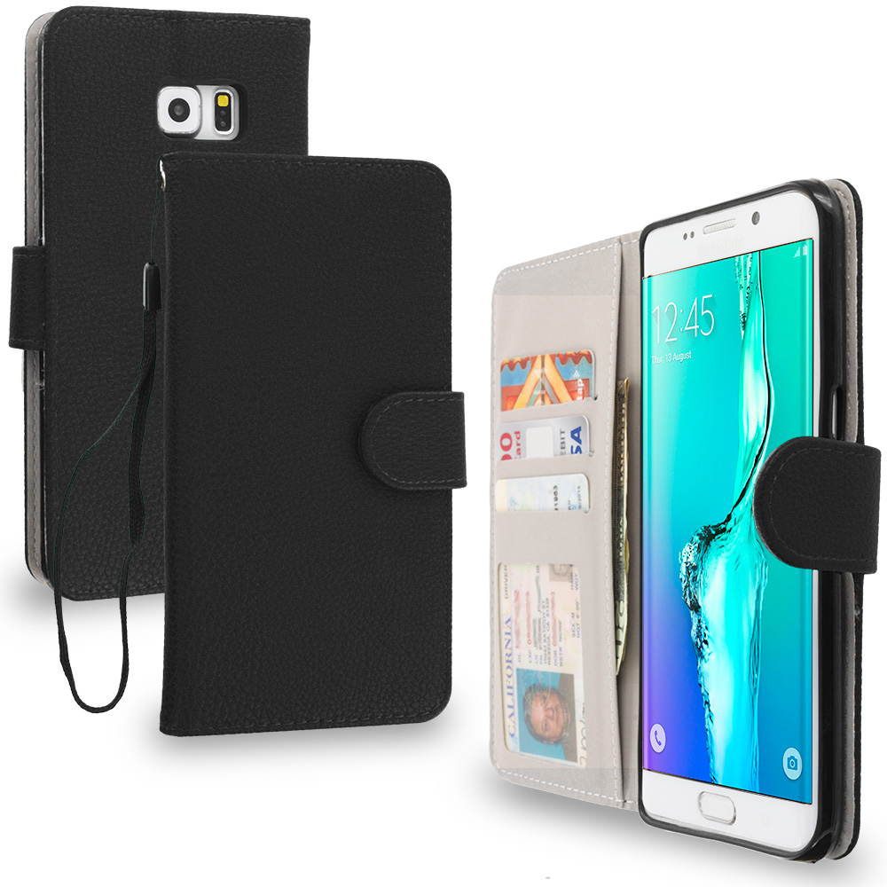 Samsung Galaxy S6 Edge Plus + Black Leather Wallet Pouch Case Cover with Slots
