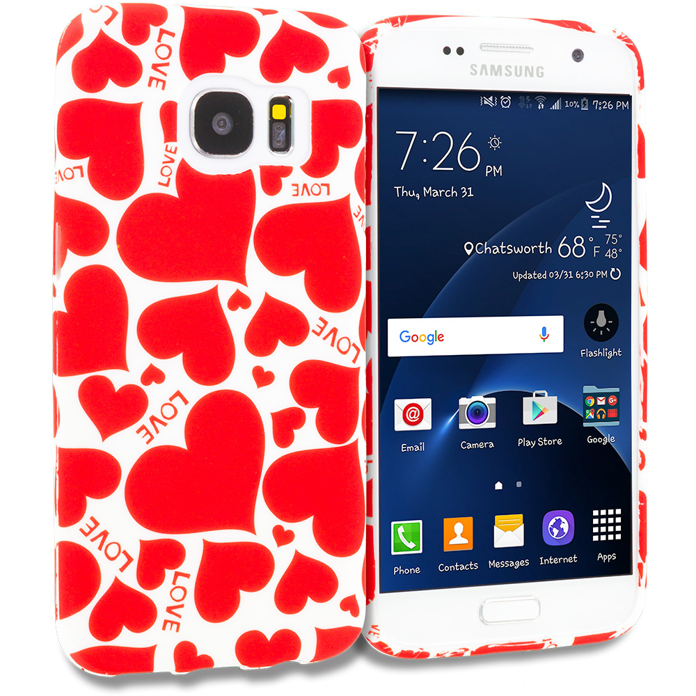Samsung Galaxy S7 Combo Pack : Love desert on Sliver TPU Design Soft Rubber Case Cover : Color Hearts w Different Shapes