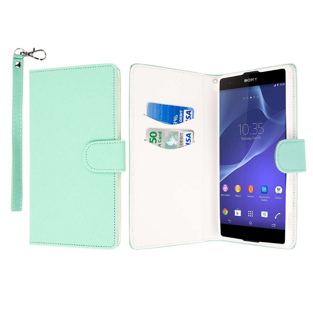 Sony Xperia T2 Ultra - Mint MPERO FLEX FLIP Wallet Case Cover