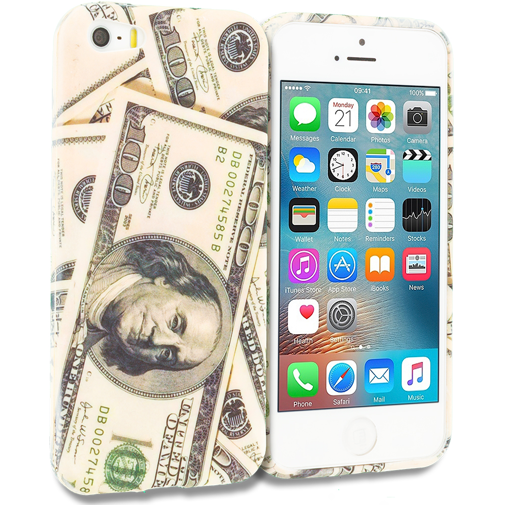 Apple iPhone 5/5S/SE Combo Pack : Hundred Dollars TPU Design Soft Rubber Case Cover : Color Money