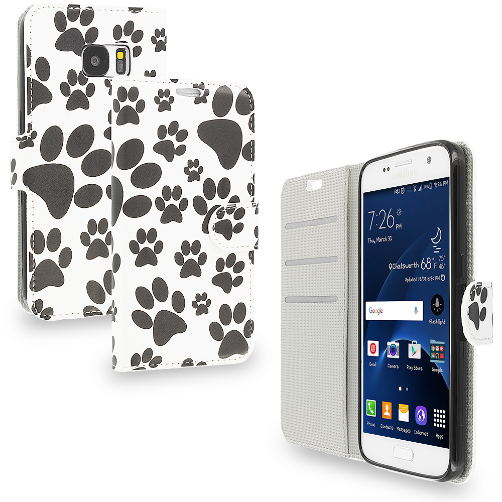 Samsung Galaxy S7 Combo Pack : Bowknot Zebra Design Wallet Flip Pouch Case Cover with Credit Card ID Slots : Color Dog Paw
