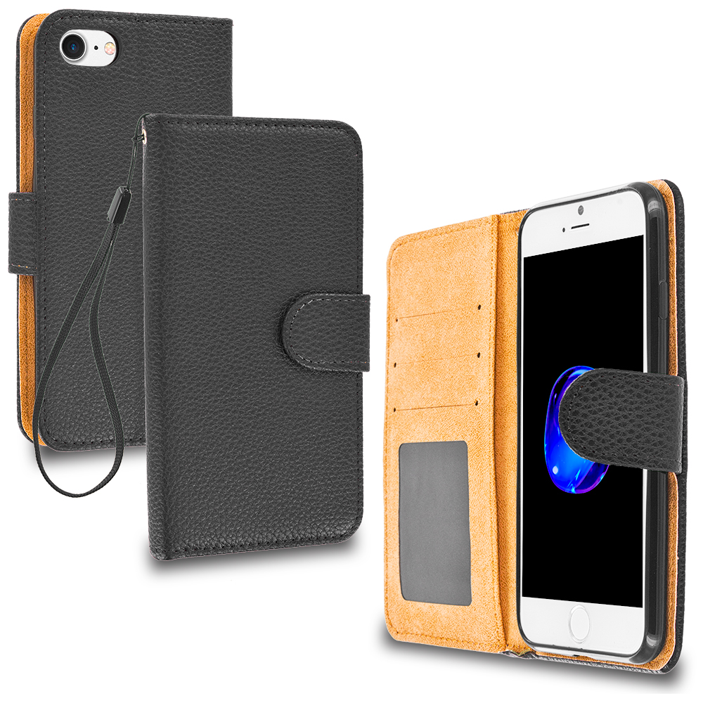 Apple iPhone 7 Black Leather Wallet Pouch Case Cover with Slots