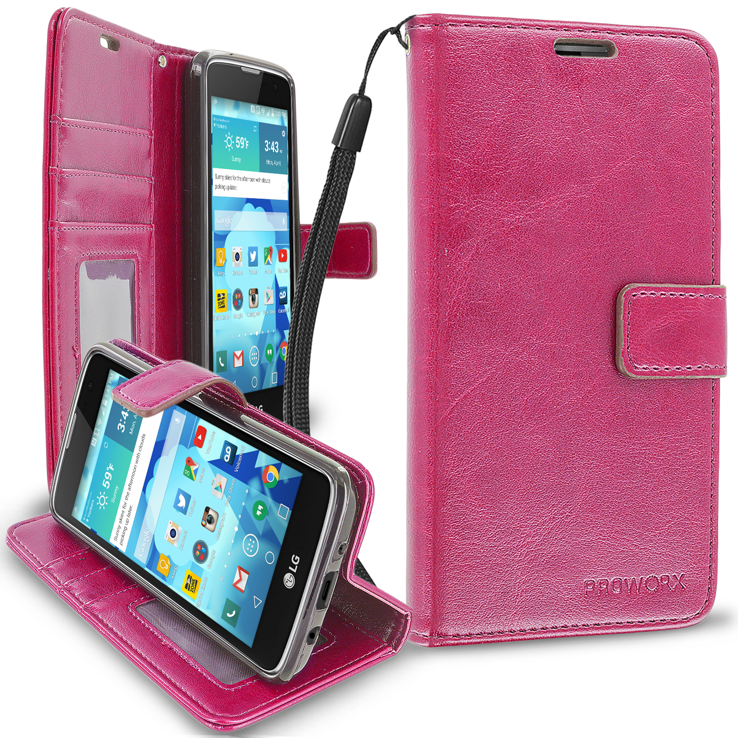 LG Tribute 5 K7 Phoenix 2 Escape 3 Treasure Hot Pink ProWorx Wallet Case Luxury PU Leather Case Cover With Card Slots & Stand