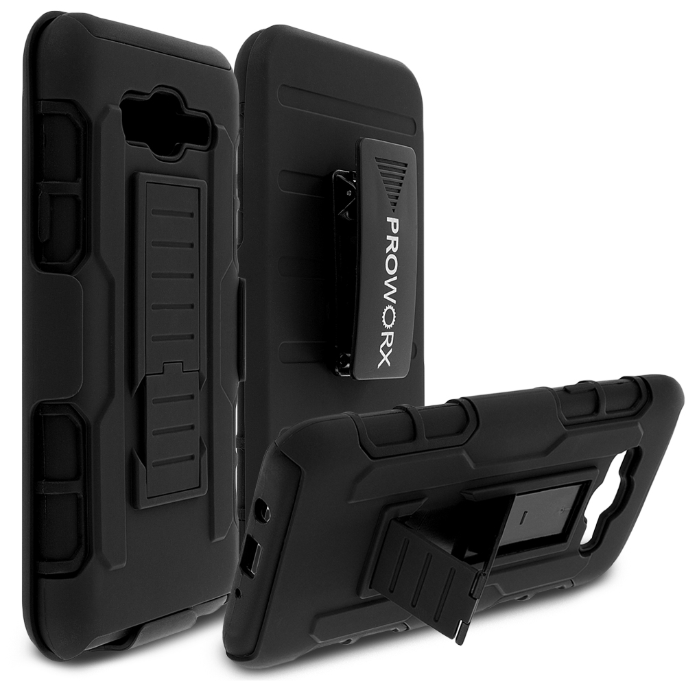 Samsung Galaxy J7 Black ProWorx Heavy Duty Shock Absorption Armor Defender Holster Case Cover With Belt Clip