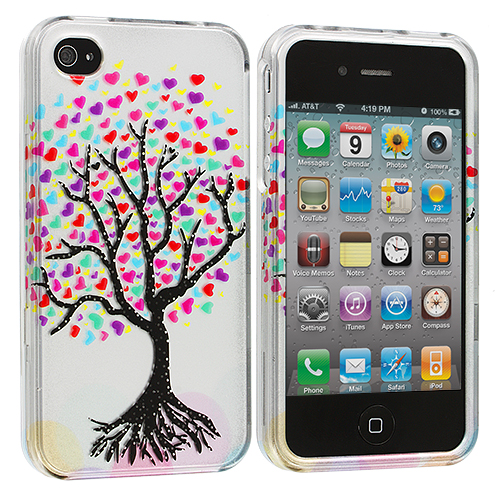 Apple iPhone 4 Bundle Pack Love Tree Design Crystal Hard Case Cover : Color Love Tree Silver