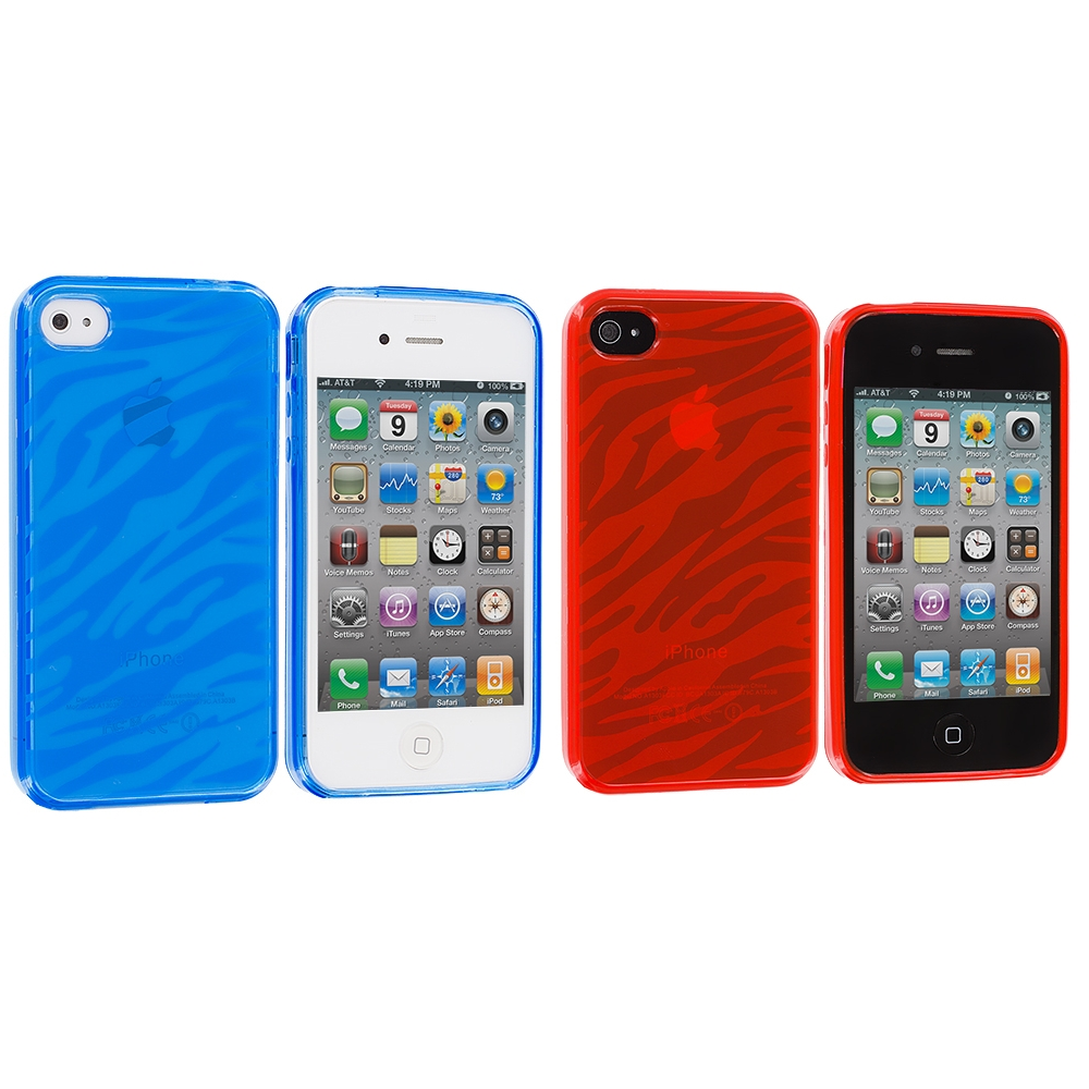 Apple iPhone 4 / 4S 2 in 1 Combo Bundle Pack - Baby Blue Red Zebra TPU Rubber Skin Case Cover