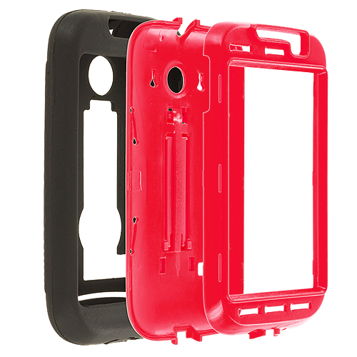 Huawei Ascend 2 M865 Black / Red Hybrid Heavy Duty Hard/Soft Case Cover with Stand
