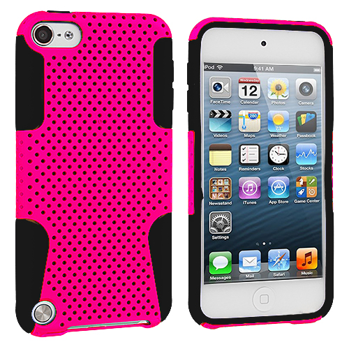 Apple iPod Touch 5th 6th Generation 2 in 1 Combo Bundle Pack - Yellow / Pink Hybrid Mesh Hard/Soft Case Cover : Color Black / Pink
