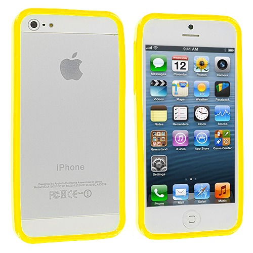 Apple iPhone 5/5S/SE Combo Pack : Red Solid TPU Bumper : Color Yellow Solid