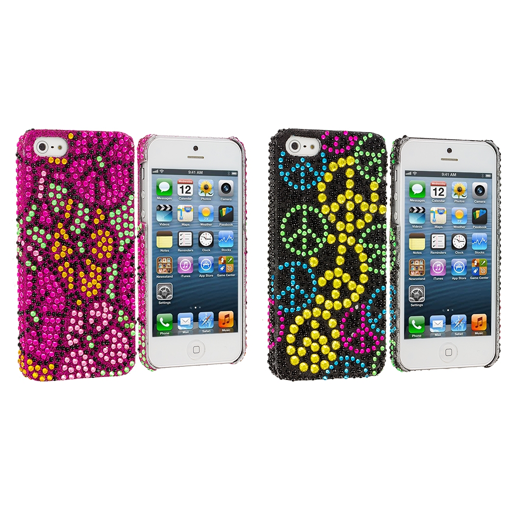 Apple iPhone 5/5S/SE Combo Pack : Hot Pink Hawaii Flower Bling Rhinestone Case Cover