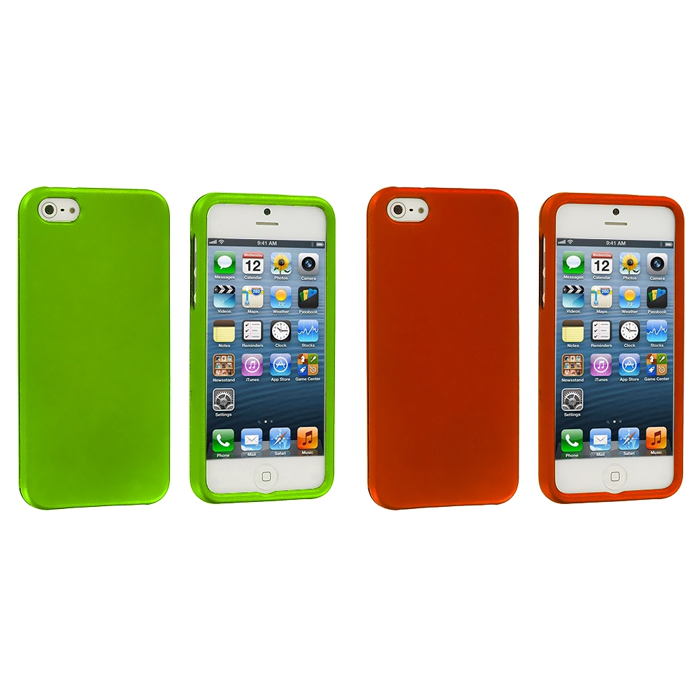 Apple iPhone 5/5S/SE Combo Pack : Neon Green Hard Rubberized Case Cover