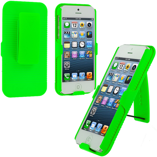 Apple iPhone 5/5S/SE Combo Pack : Baby Blue Hard Rubberized Belt Clip Holster Case Cover : Color Neon Green
