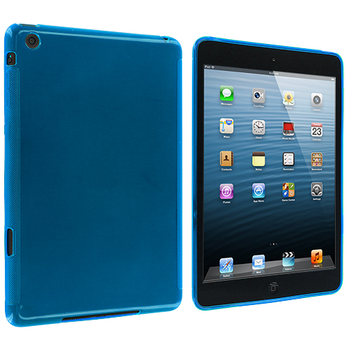 Apple iPad Mini Baby Blue Plain TPU Rubber Skin Case Cover