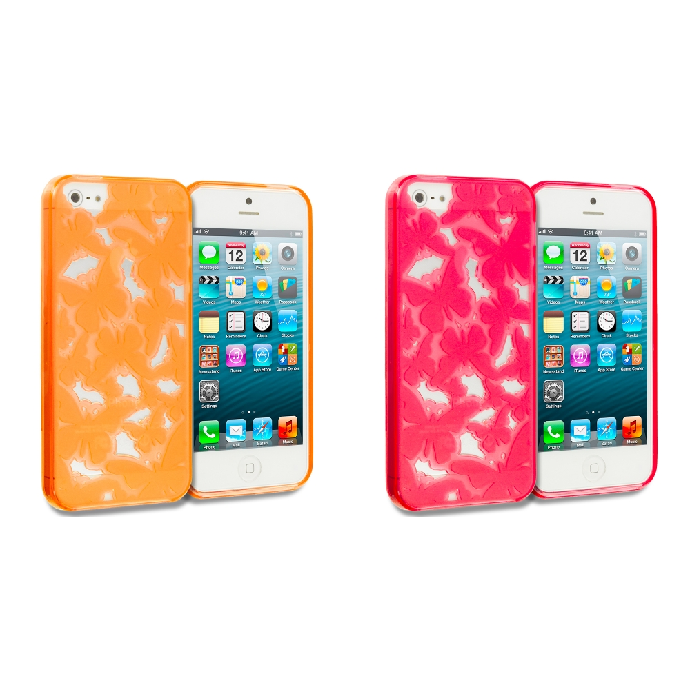 Apple iPhone 5/5S/SE Combo Pack : Orange Butterfly Cutout TPU Rubber Skin Case Cover
