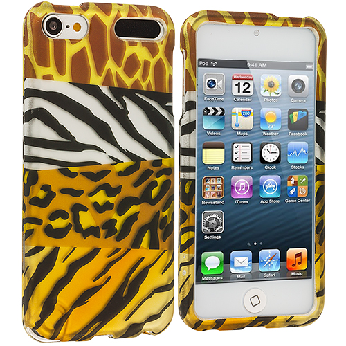 Apple iPod Touch 5th 6th Generation 3 in 1 Combo Bundle Pack - Leopard / Purple Zebra Hard Rubberized Design Case Cover : Color Mix Animal Skin