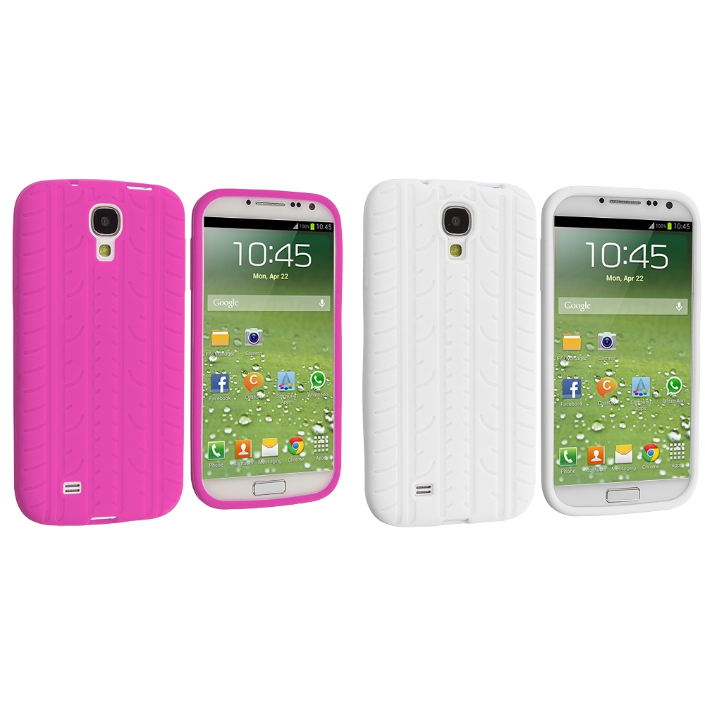 Samsung Galaxy S4 2 in 1 Combo Bundle Pack - Hot Pink White Tire Tread Silicone Soft Skin Case Cover