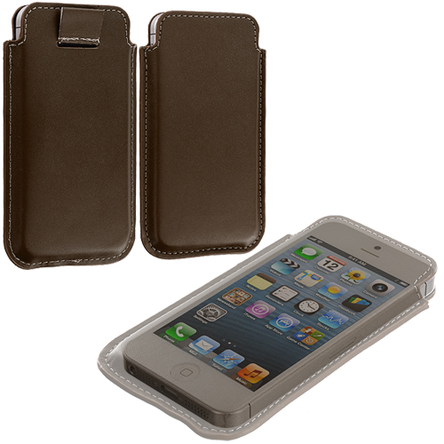 Apple iPhone 5/5S/SE Combo Pack : Black Sleeve Pouch : Color Brown