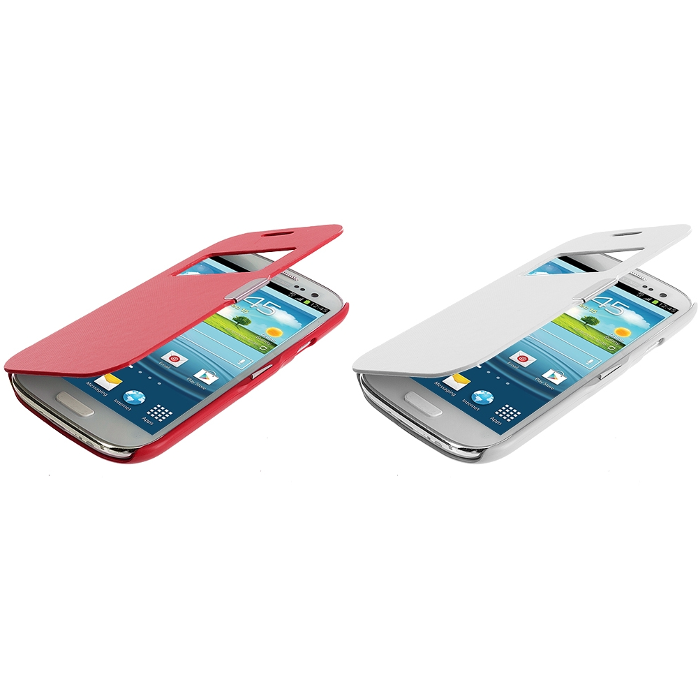 Samsung Galaxy S3 2 in 1 Combo Bundle Pack - White Red Texture (Open) Magnetic Wallet Case Cover Pouch