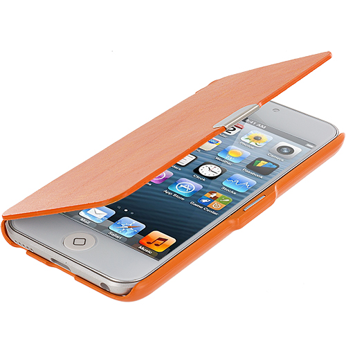 Apple iPod Touch 5th 6th Generation Orange Texture Magnetic Wallet Case Cover Pouch