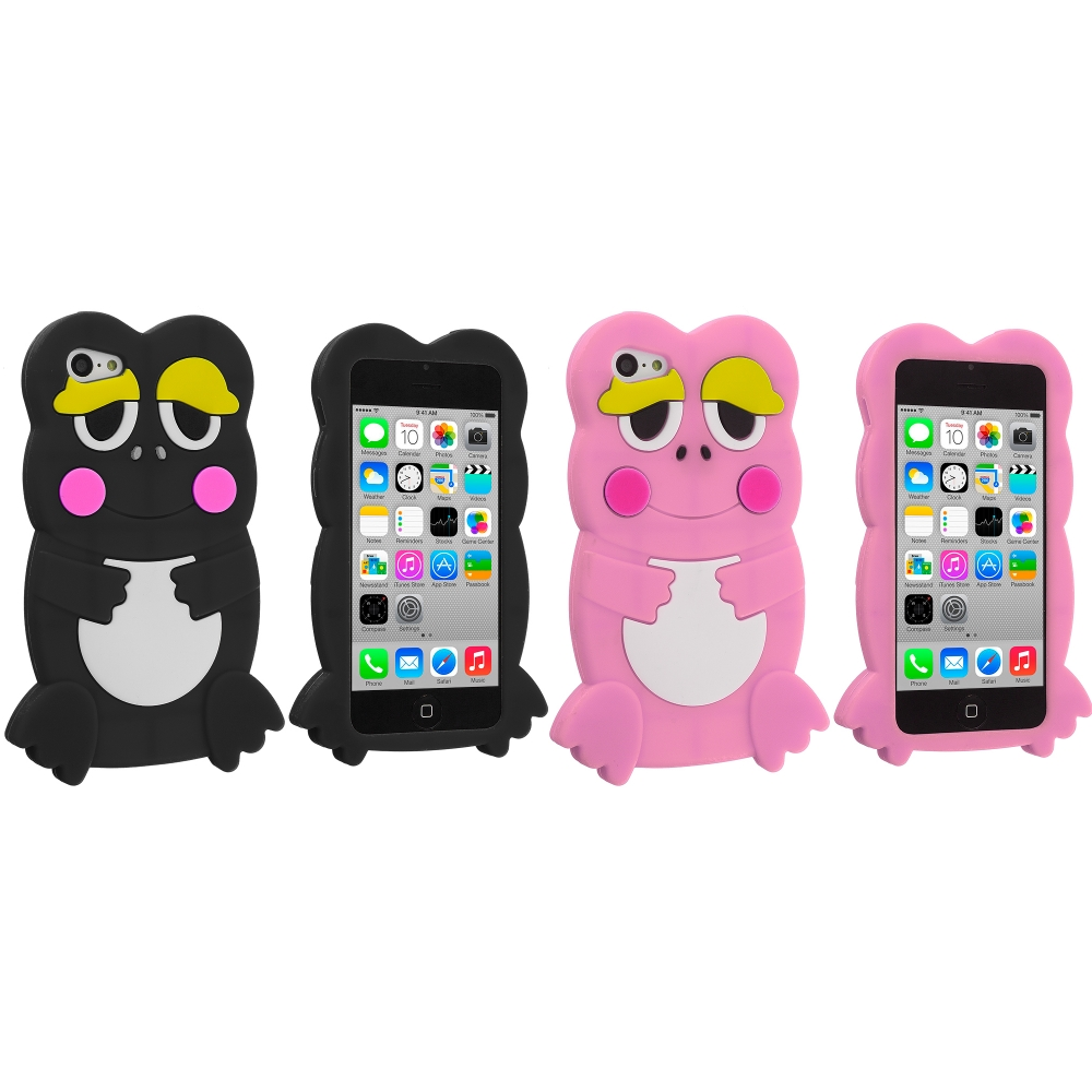 Apple iPhone 5C 2 in 1 Combo Bundle Pack - Black Pink Frog Silicone Design Soft Skin Case Cover