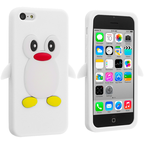 Apple iPhone 5C 2 in 1 Combo Bundle Pack - Light Pink White Penguin Silicone Design Soft Skin Case Cover : Color White Penguin