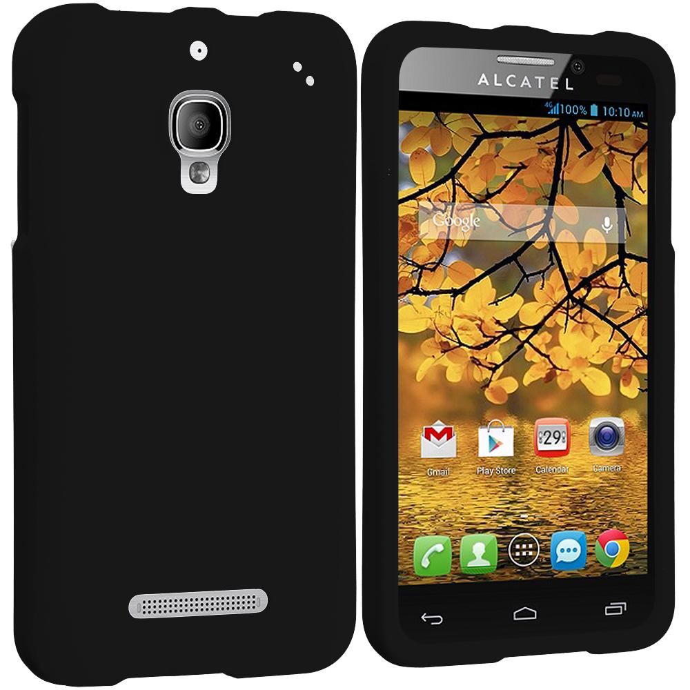 Alcatel One Touch Fierce 7024W Black Hard Rubberized Case Cover