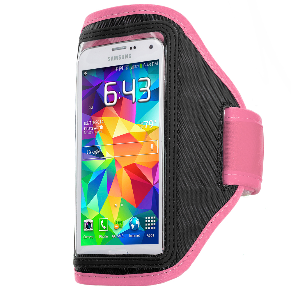 Samsung Galaxy S5 2 in 1 Combo Bundle Pack - Black Pink Running Sports Gym Armband : Color Hot Pink