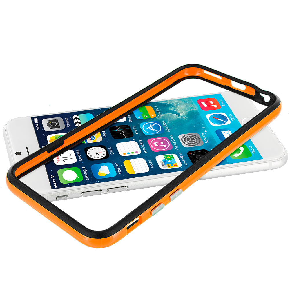 Apple iPhone 6 6S (4.7) Black / Orange TPU Bumper with Metal Buttons