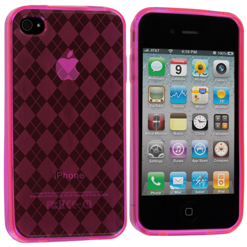 Apple iPhone 4 / 4S Hot Pink Checkered TPU Rubber Skin Case Cover