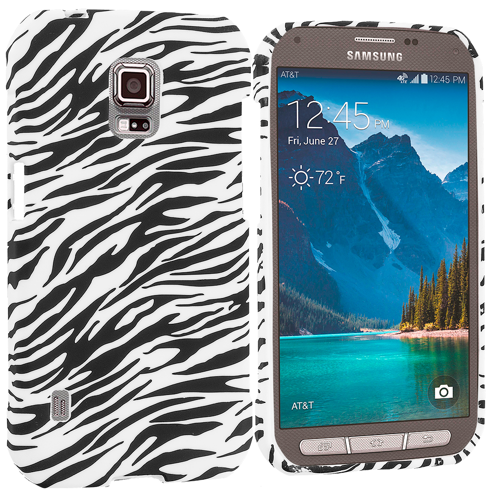 Samsung Galaxy S5 Active Black White Zebra TPU Design Soft Rubber Case Cover