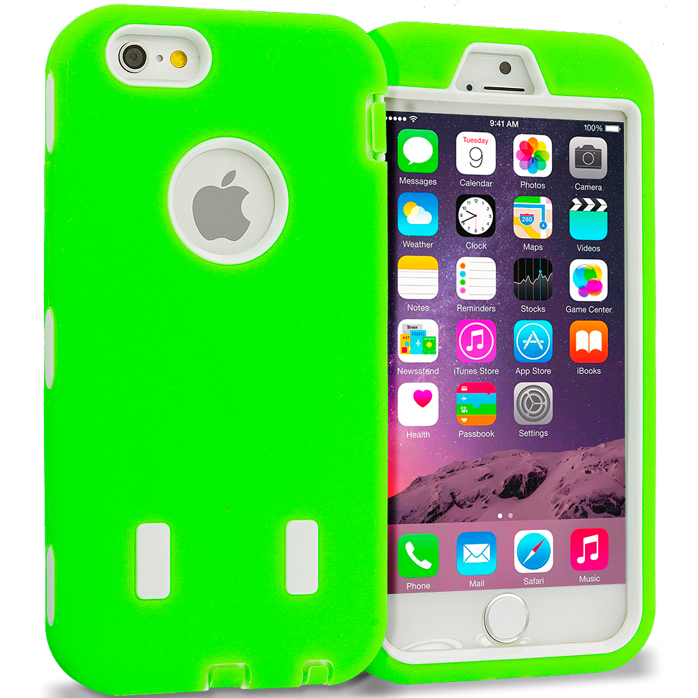 Apple iPhone 6 6S (4.7) Neon Green / White Hybrid Deluxe Hard/Soft Case Cover