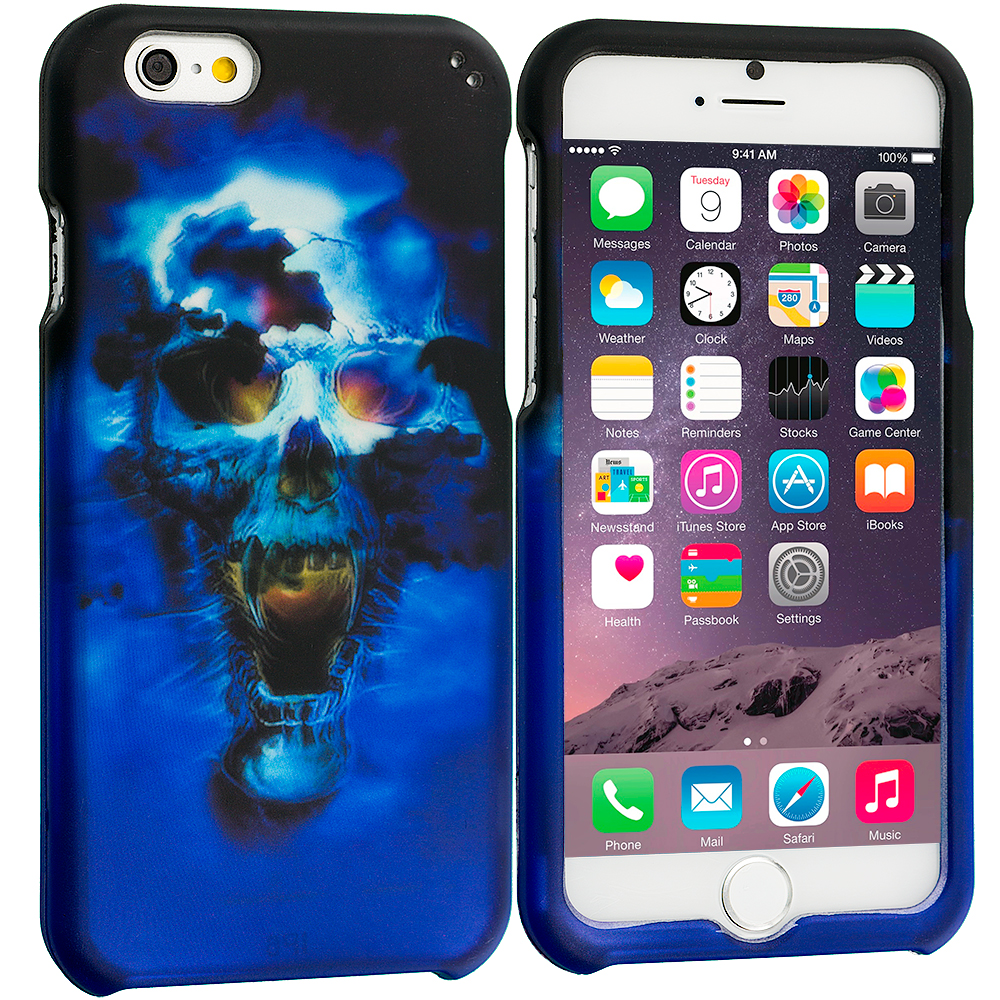 Apple iPhone 6 Plus 6S Plus (5.5) Blue Skulls 2D Hard Rubberized Design Case Cover