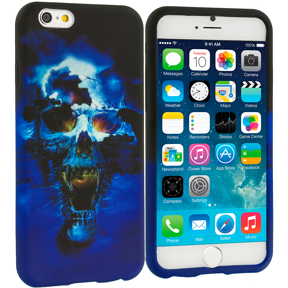 Apple iPhone 6 Plus 6S Plus (5.5) Blue Skulls TPU Design Soft Rubber Case Cover