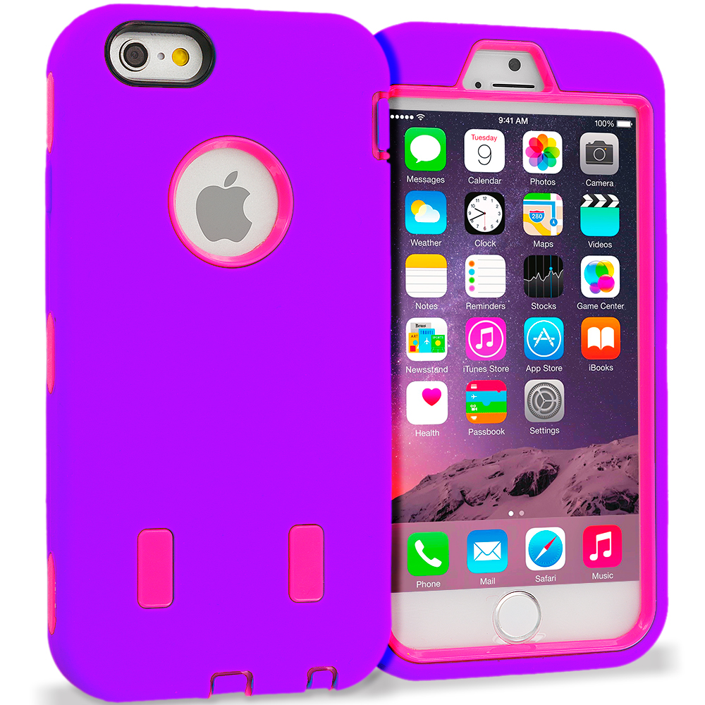 Apple iPhone 6 6S (4.7) Purple / Hot Pink Hybrid Deluxe Hard/Soft Case Cover