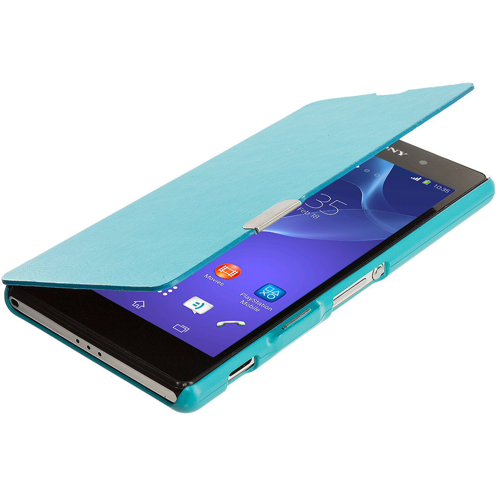 Sony Xperia Z2 Baby Blue Magnetic Flip Wallet Case Cover Pouch