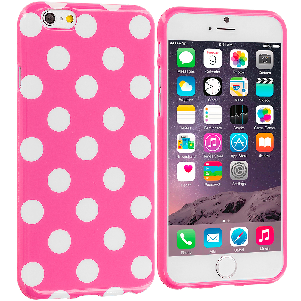 Apple iPhone 6 Plus 6S Plus (5.5) Hot Pink / White TPU Polka Dot Skin Case Cover