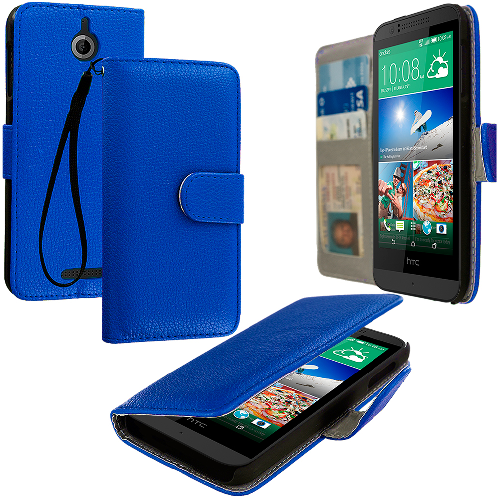 HTC Desire 510 Blue Leather Wallet Pouch Case Cover with Slots