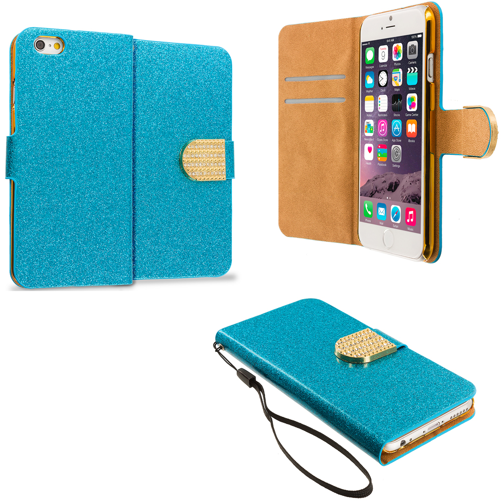 Apple iPhone 6 6S (4.7) Teal Glitter Bling Wallet Case Cover Pouch With Slots