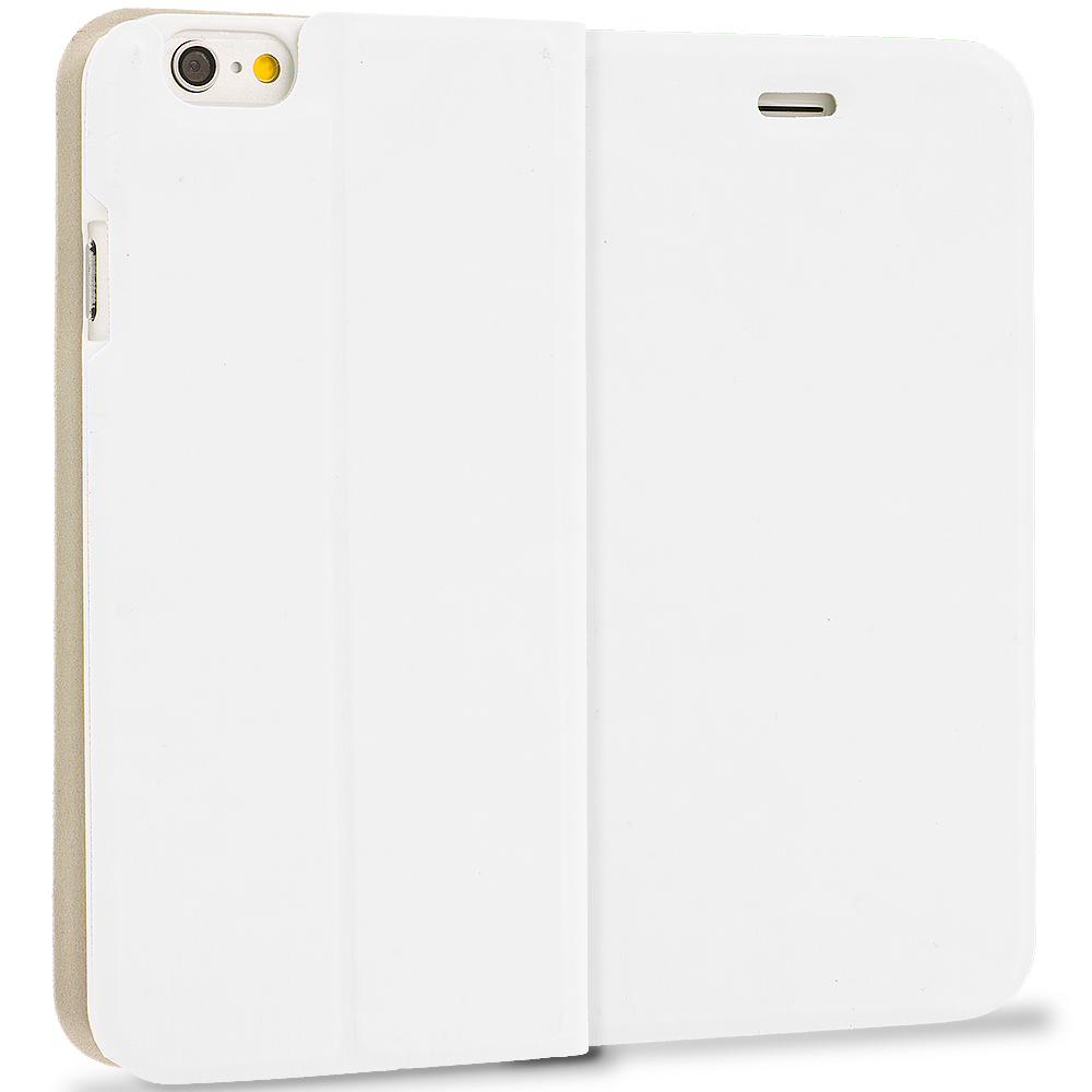 Apple iPhone 6 Plus 6S Plus (5.5) White Slim Flip Wallet Case Cover