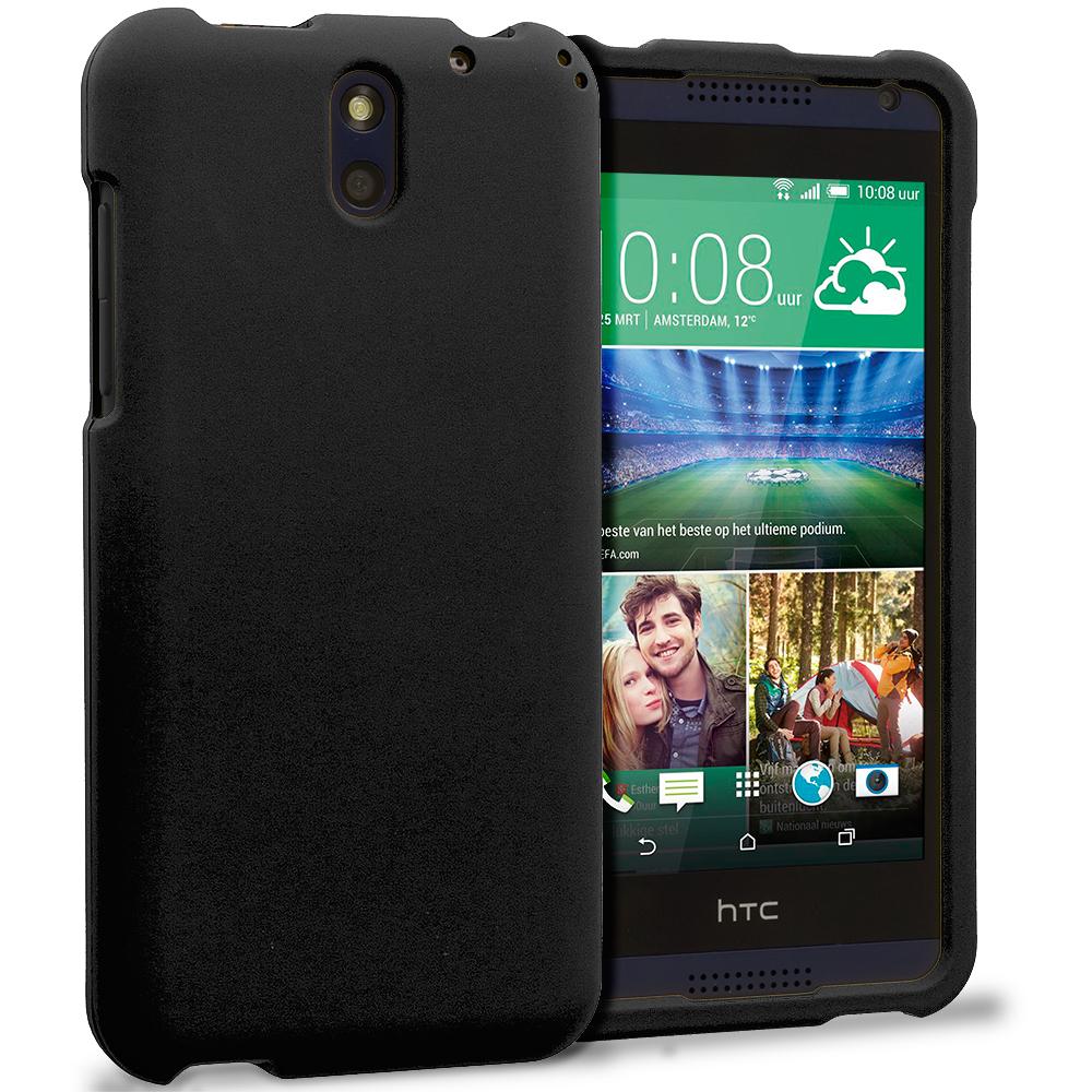 HTC Desire 610 Black Hard Rubberized Case Cover