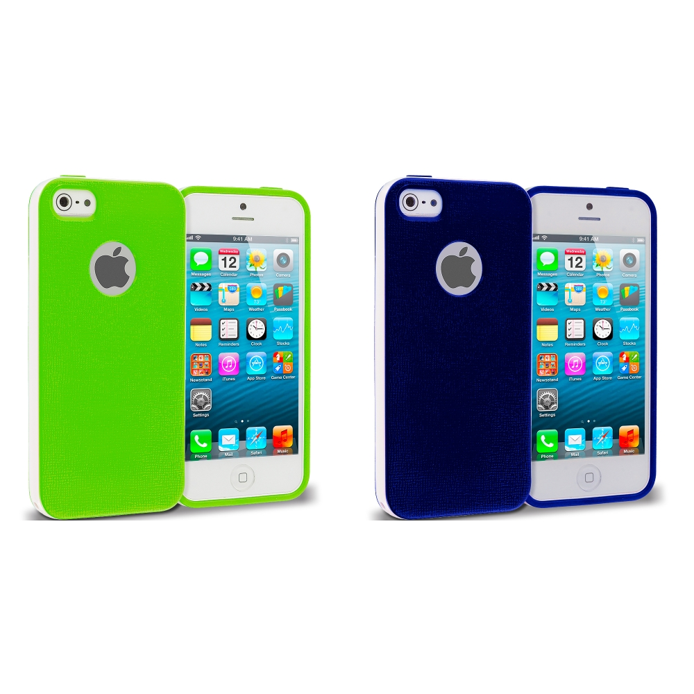 Apple iPhone 5/5S/SE Combo Pack : Blue Hybrid TPU Bumper Case Cover