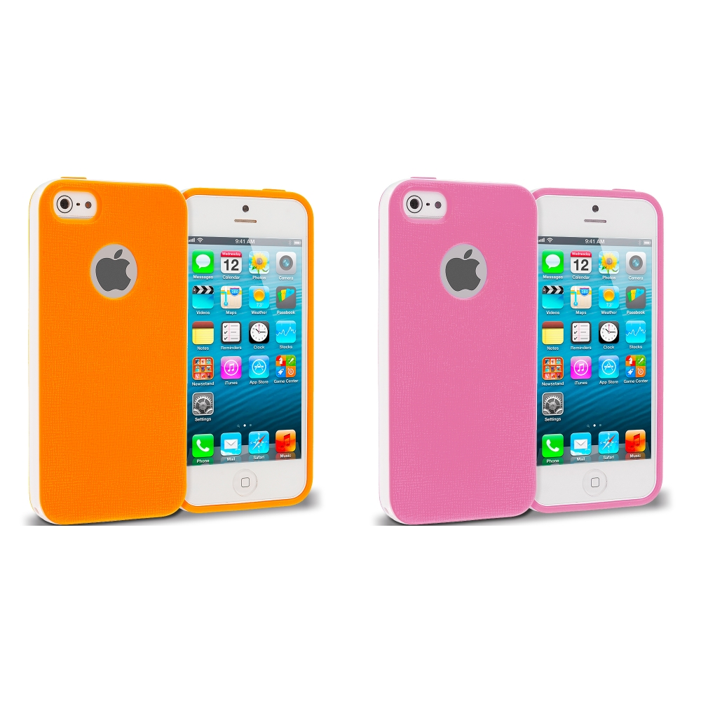 Apple iPhone 5/5S/SE Combo Pack : Pink Hybrid TPU Bumper Case Cover