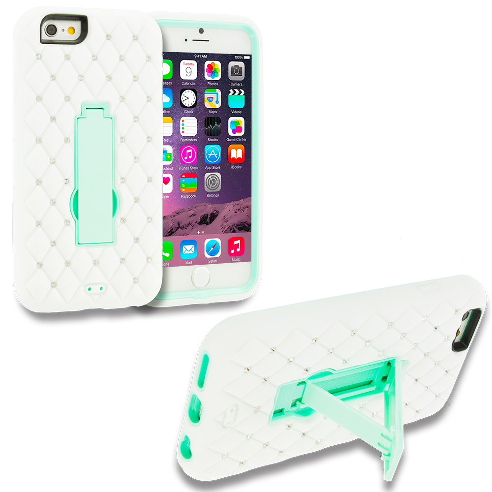 Apple iPhone 6 6S (4.7) 3 in 1 Combo Bundle Pack - Hybrid Diamond Bling Hard Soft Case Cover with Kickstand : Color White / Mint Green