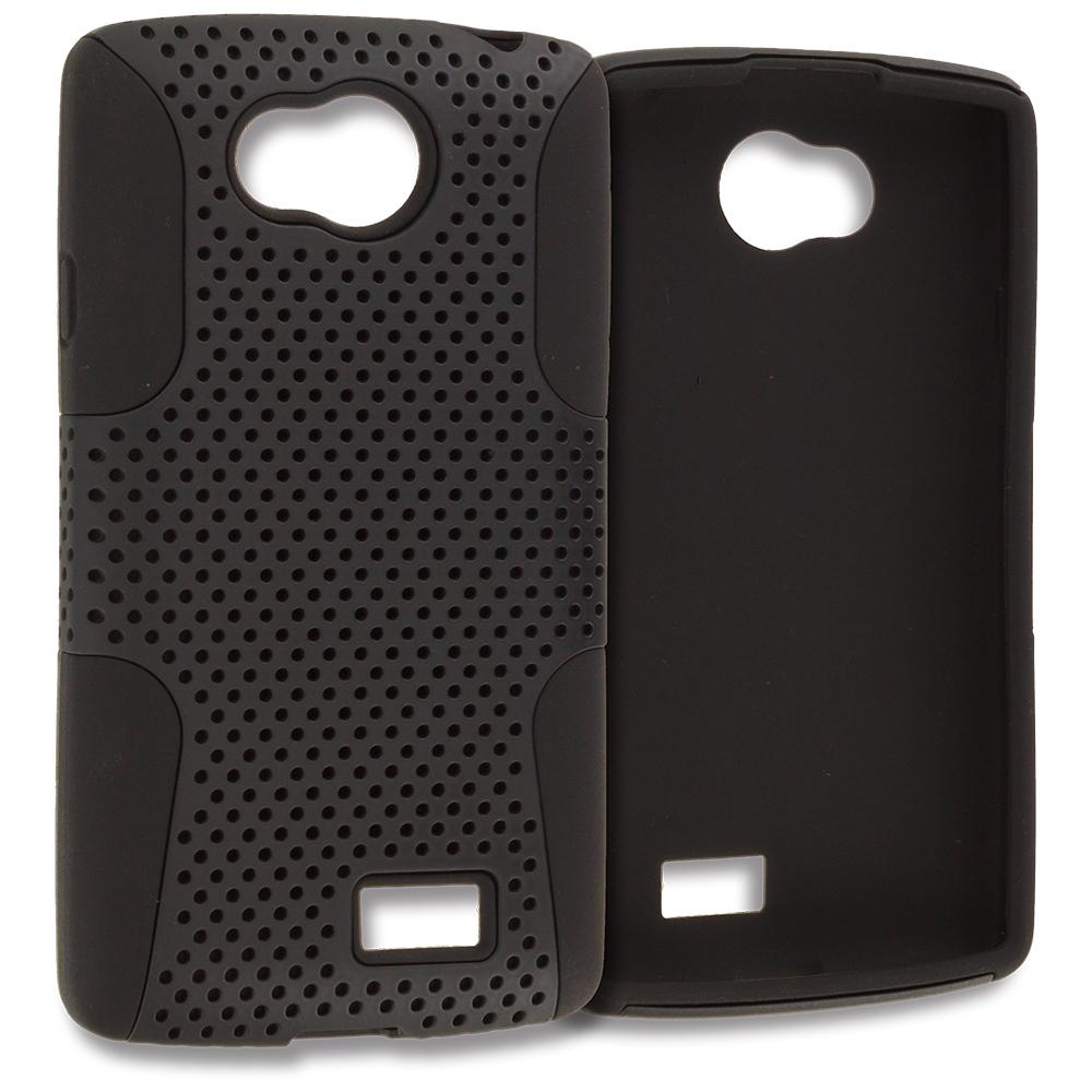 LG Transpyre Tribute F60 Black / Black Hybrid Mesh Hard/Soft Case Cover