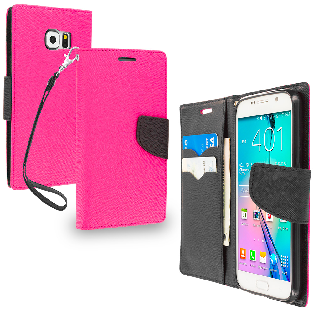 Samsung Galaxy S6 Hot Pink / Black Leather Flip Wallet Pouch TPU Case Cover with ID Card Slots