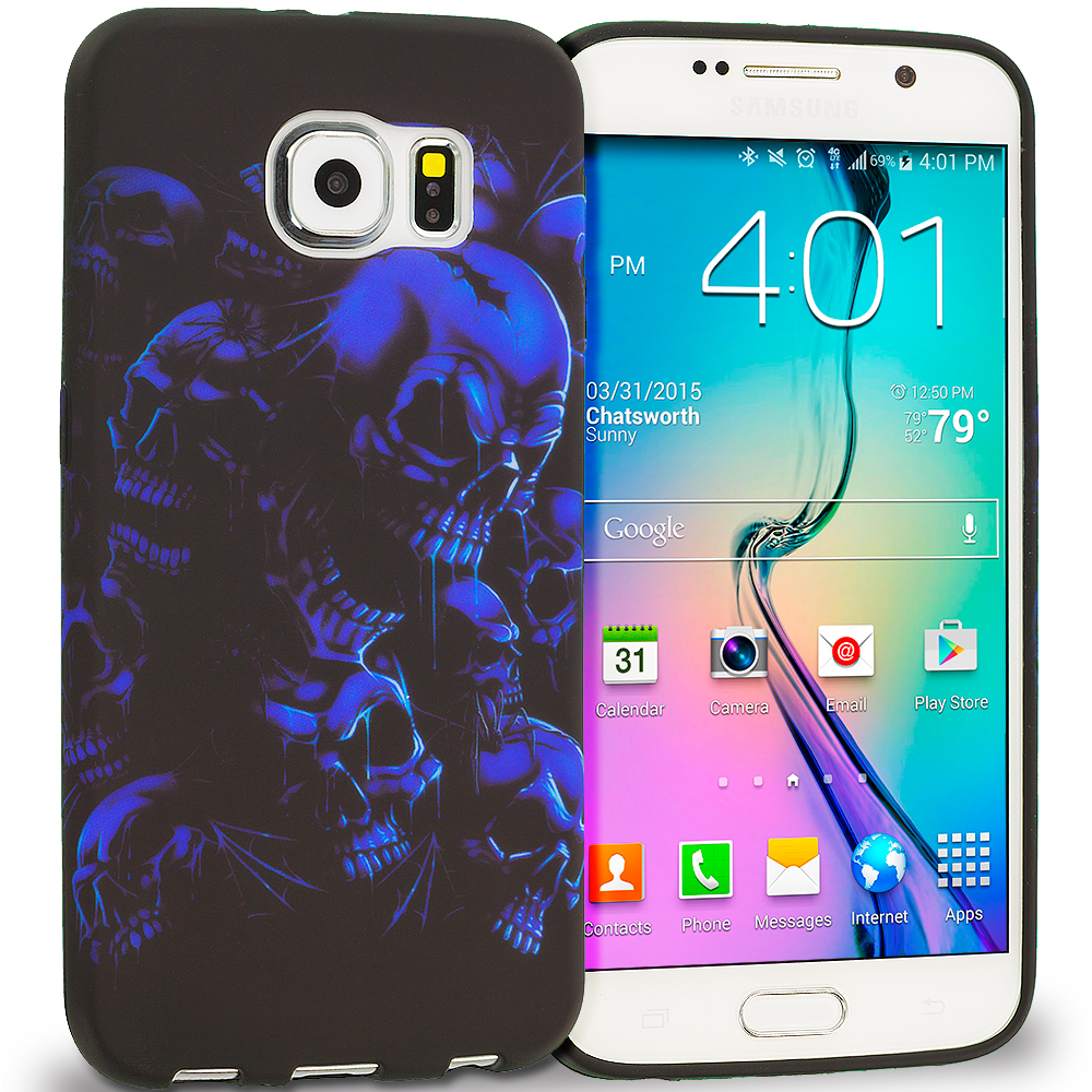 Samsung Galaxy S6 Black Blue Skull TPU Design Soft Rubber Case Cover
