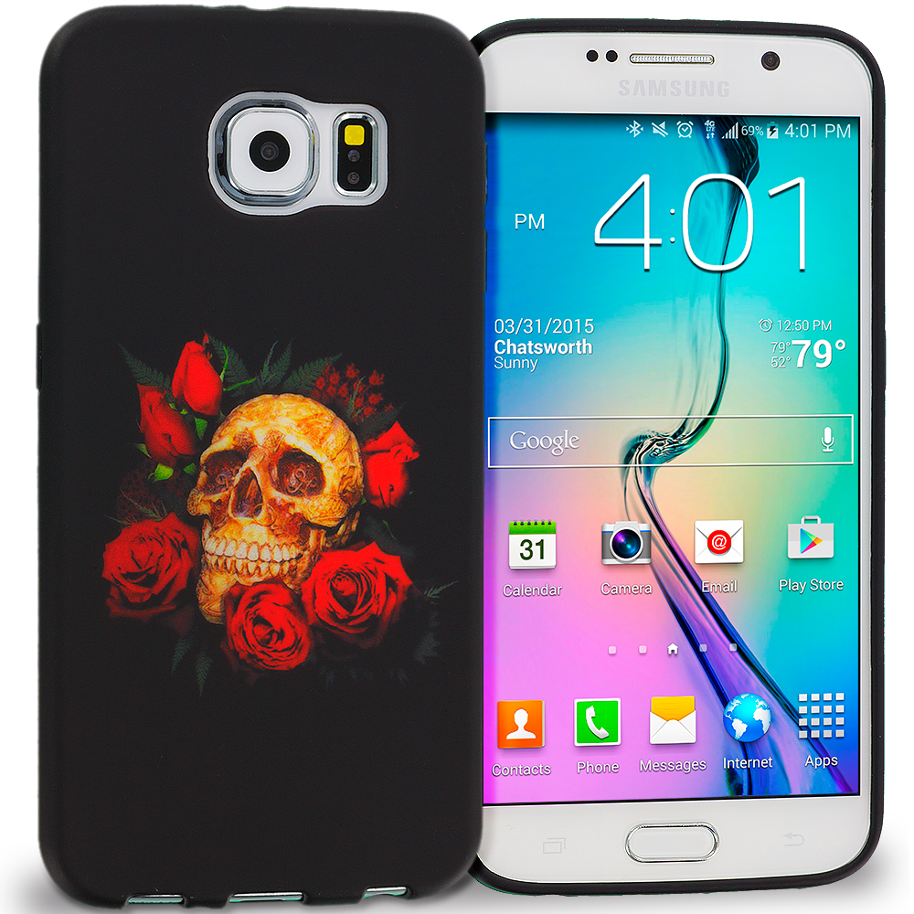 Samsung Galaxy S6 Red Rose Skull TPU Design Soft Rubber Case Cover