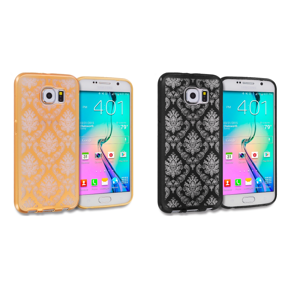 Samsung Galaxy S6 Combo Pack : Gold TPU Damask Designer Luxury Rubber Skin Case Cover