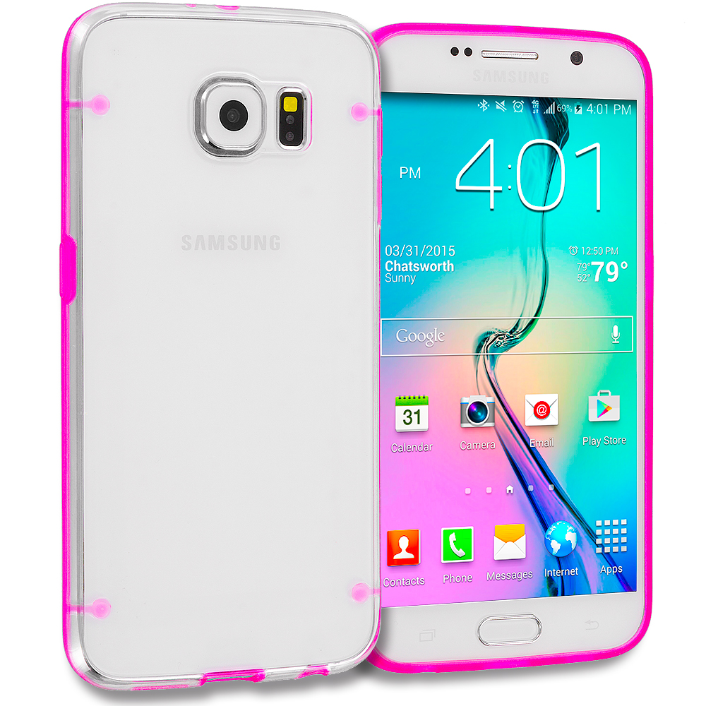 Samsung Galaxy S6 Combo Pack : Hot Pink Crystal Robot Hard TPU Case Cover : Color Hot Pink